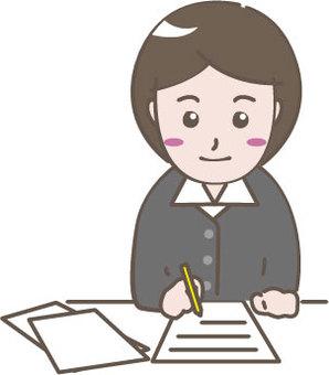 Clerk writing a document