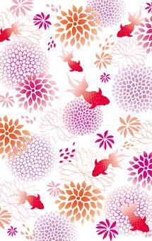 Flowers and goldfish Japanese illustration feels summer