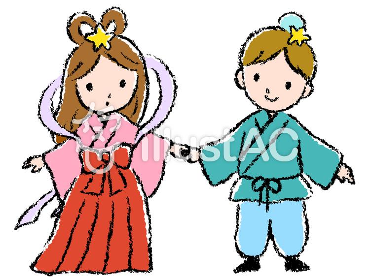 織姫と彦星 七夕 手描き 手書きイラスト No 1146651無料イラスト