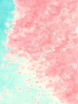 벚꽃 배경 01 (수채화 일러스트)