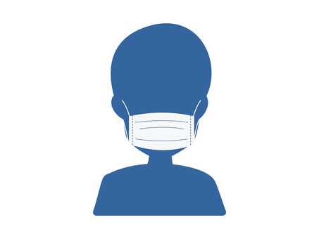 Illustration of wearing a mask (blue)
