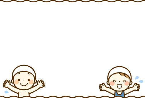 Children in bathing suits _ ornamental frame