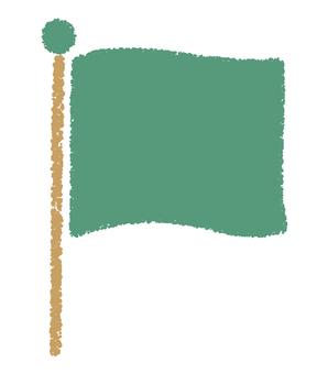 旗_手描き_緑色