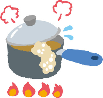 One-handed pan with fire (spilling spilling)