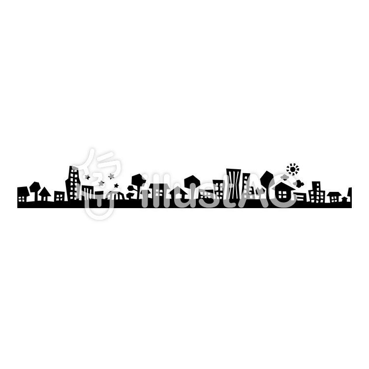 町並みシルエット(黒)のイラスト