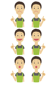Young man pointing fingers expression various upper body sets