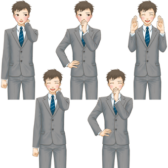 Standing picture pose set (suit male) - embarrassment