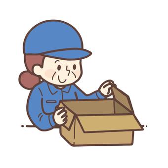 Senior woman closing cardboard