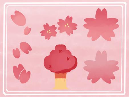 Hand-drawn style cherry blossom illustration set
