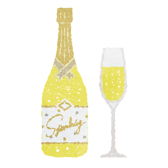 Watercolor style champagne and champagne glasses
