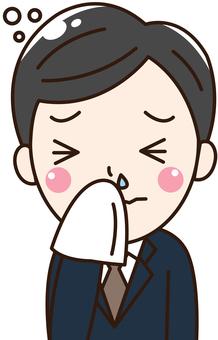 男性会社員-風邪、鼻水、体調不良