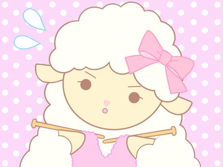 編み物を頑張るひつじちゃん_02