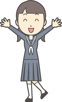 Junior high school sailor woman -099-whole body