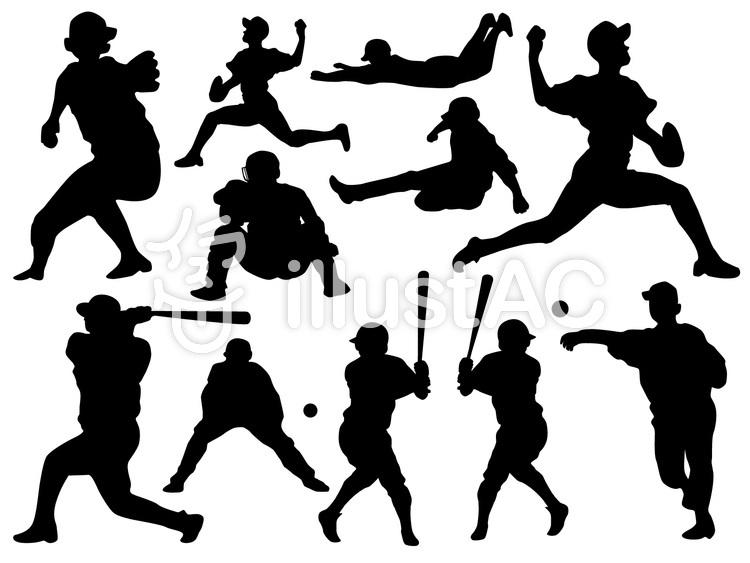 野球シルエットのイラスト