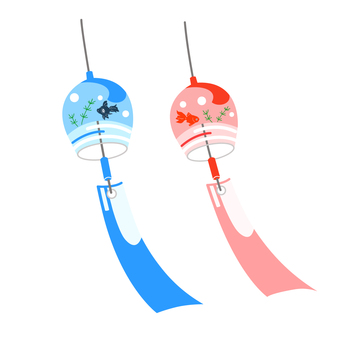Wind bell illustration of a pair of goldfish