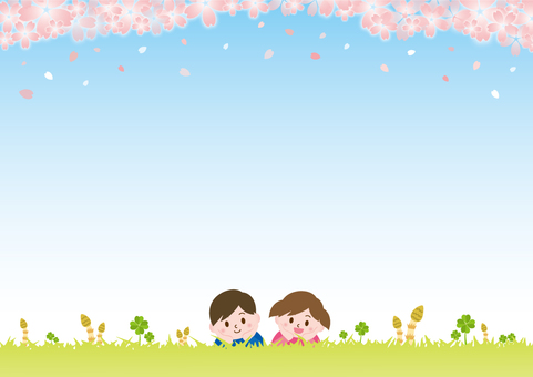 Children lying on the grass on spring _ Cherry blossoms B02