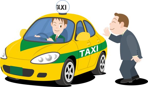 タクシーを拾うビジネスマン