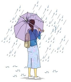 A woman holding an umbrella in the rain
