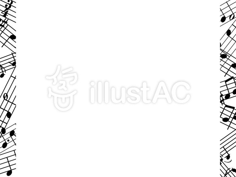音符をちりばめた音楽フレーム飾り枠素材イラスト No 1043745無料
