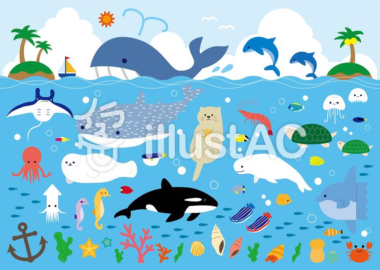 海の生き物イラスト No 750709無料イラストならイラストac