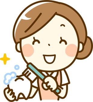 Dental hygienist _ teeth brushing teaching