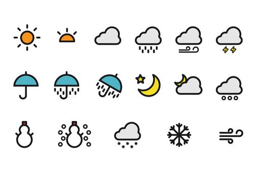 날씨의 화려한 아이콘