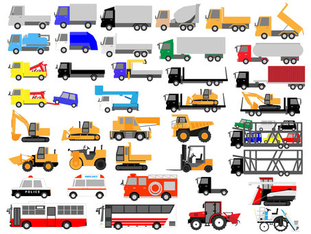 Working vehicles (truck, heavy equipment, emergency vehicles, etc.)