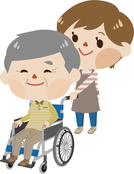 Care - a wheelchair male and a caregiver (female 2)