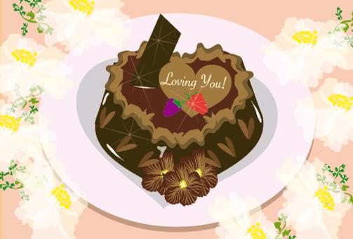 하트 모양의 초콜릿 케이크
