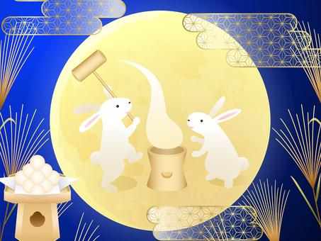 月見兎の餅つき・ススキ・団子・霞の背景2