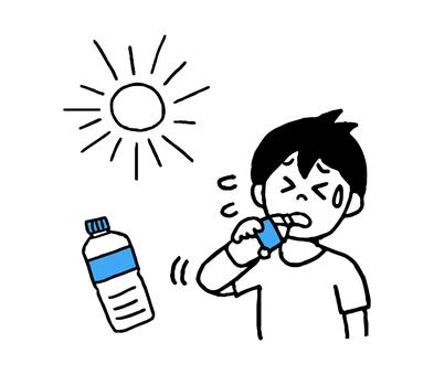 Heat stroke measures, men who rehydrate (simple)