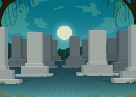 Night graveyard background illustration
