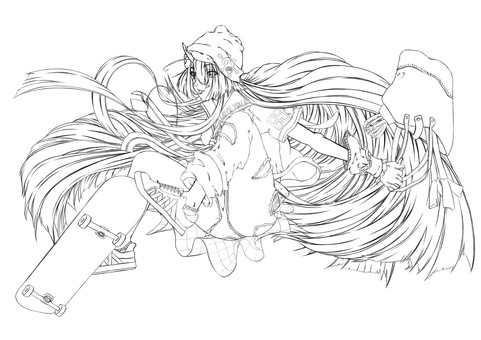 Maki Kashima, skateboarding, shopping return (line drawing)