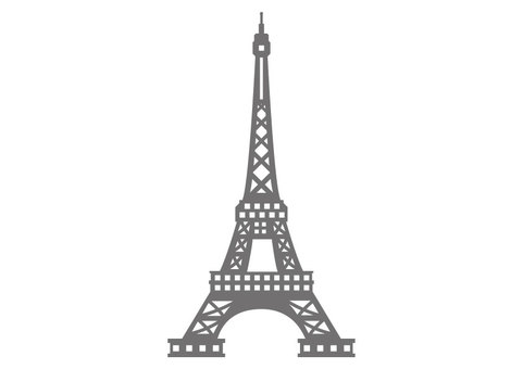 Precise gray eiffel tower silhouette