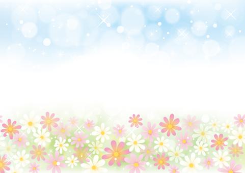 Flower field and sky scenery 02