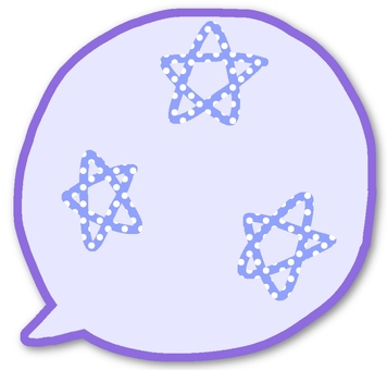 Speech balloon with a star mark