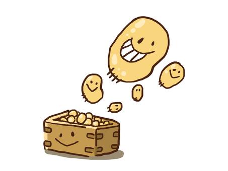 【Setsubun】 Illustration of beans 【Handwriting wind】