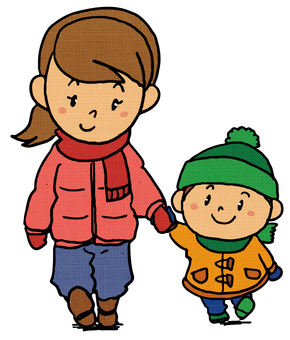 Child walking hand in hand with mother