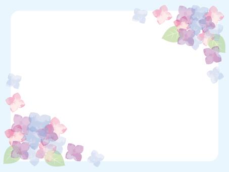 Watercolor hydrangea blue background frame
