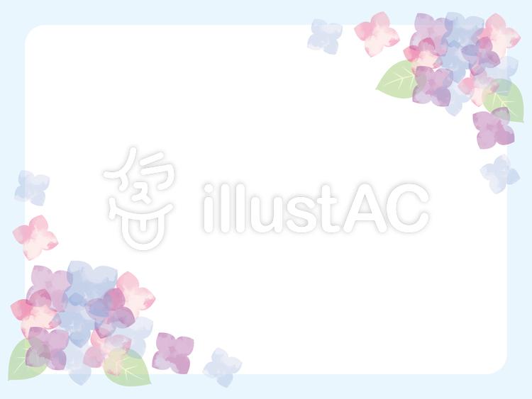 水彩調アジサイ青背景フレーム