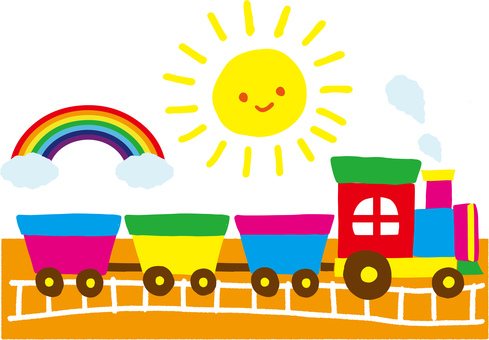 A hand-drawn style train, a gazebo and a rainbow