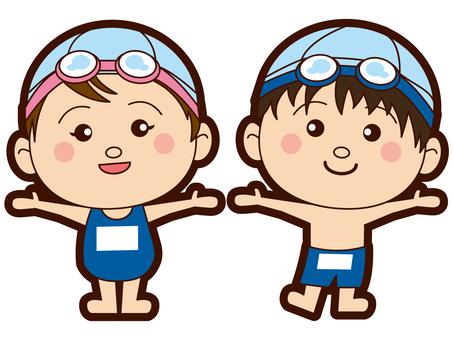 초등학생 - 수영장 - 수영복 - 남녀 - 수중 안경