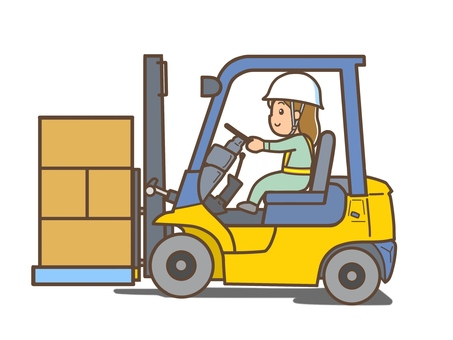 A female worker driving a forklift