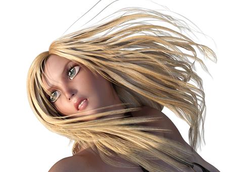 ブロンドの髪を振り乱す女性