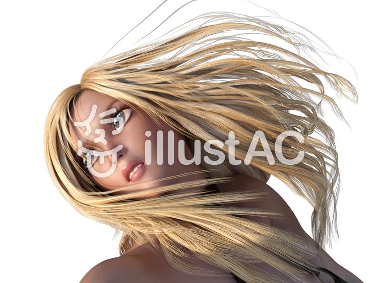 ブロンドの髪を振り乱す女性のイラスト