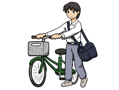 Male student walking bicycle
