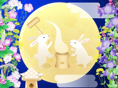 Seven eggs of autumn · moon view · rabbit mochi · dumplings background