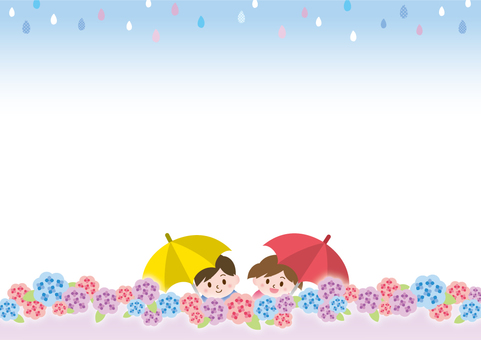 Hydrangeas and smiling children _ B 02