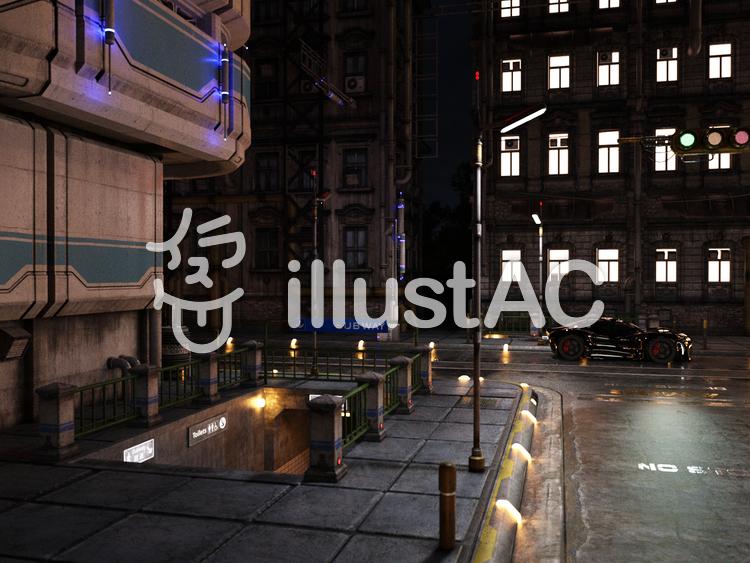 夜の街と灯りのイラスト