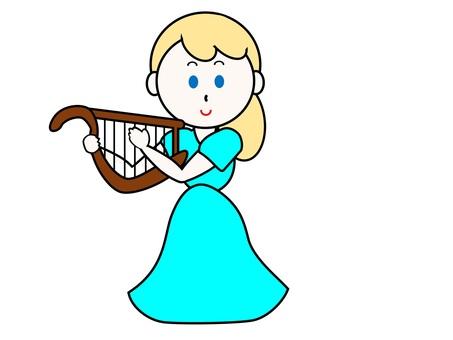 허브를 연주하는 여성